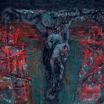 Crucified. 1992. oil on canvas, collage, 120 x 180 sm. Collection of the  State Tretyakov Gallery