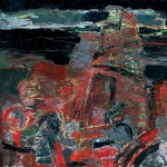 Construction of the tower. 1992, oil on canvas, 130 x 150 sm., Collection of the State Tretyakov Gallery